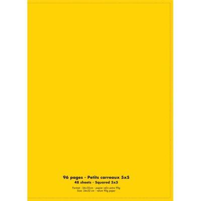Cahier éco - piqué - couverture polypro - 96 pages - 24 x 32 cm - 90g - petits carreaux - jaune