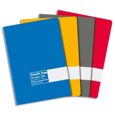 Cahier éco piqué couverture carte 96 pages 21 x 297 cm 70g petits carreaux coloris assortis