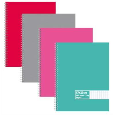 Cahier éco - spirales - couvertures carte - 180 pages - 17x22 cm - grands carreaux - assortis