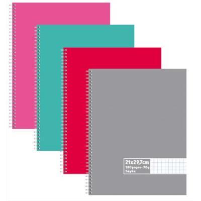 Cahier éco - spirales - couvertures carte - 180 pages - 21x29,7 cm - grands carreaux - assortis
