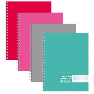 Cahier éco - spirales - couvertures carte - 180 pages - 21x29,7 cm - petits carreaux - assortis