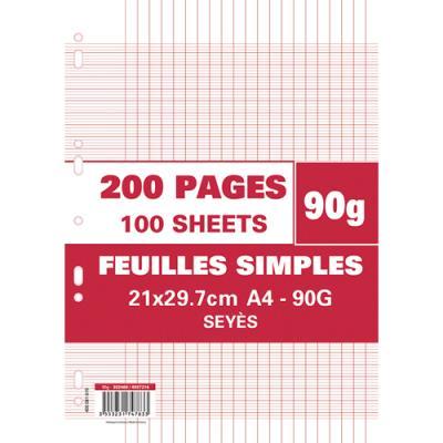 Feuillets mobiles perforés Seyès - 90g - 21 x 29,7 cm - papier blanc - étui de 200 pages
