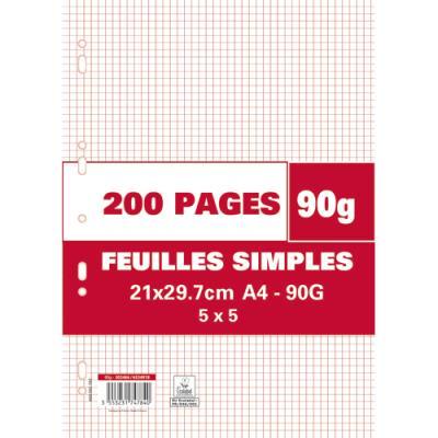 Feuillets mobiles perforés - 90g - 5x5 - 21 x 29,7 cm - papier blanc - étui de 200 pages