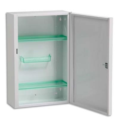 Armoire à pharmacie 1 porte - L 31 x H 45,5 x P 14,5 cm - acier blanc (photo)