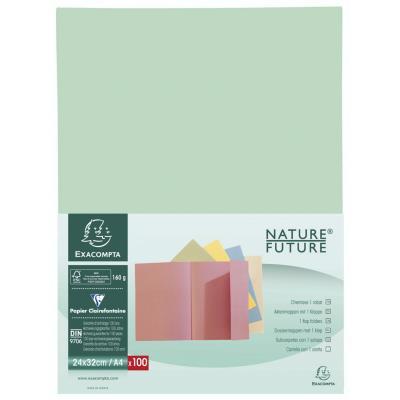 Chemise à rabat Nature Future Jura 160 A4 - 200 feuilles - 240 x 320 mm - carton comprimé - vert clair - lot de 100 - paquet 100 unités