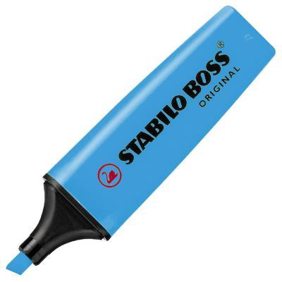 Stabilo Boss bleu - surligneur pointe large biseautée (photo)