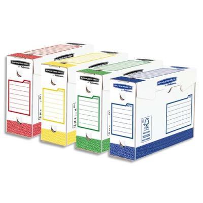 Boîtes archives Heavy Duty Bankers Box - dos 10 cm - montage manuel - assortis bleu/rouge/vert/jaune - lot de 8