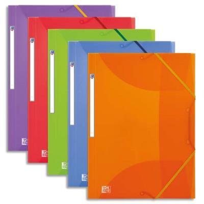 Lot de 10 chemises 3 rabats élastique ELBA - PP 5/10e - coloris assortis translucide