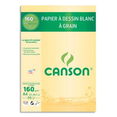 Bloc de papier dessin blanc Canson - 20 feuilles - A4 - 160g (photo)