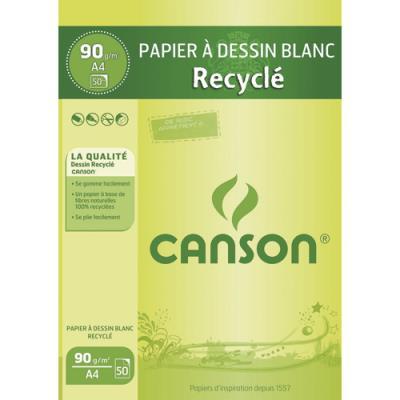 Bloc de papier dessin blanc recyclé Canson - 50 feuilles - A4 - 90g (photo)