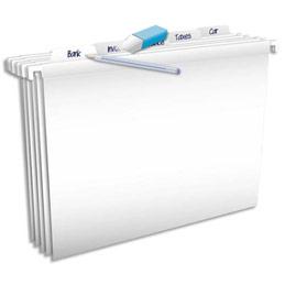 Dossiers suspendus Elba Pure File - polypro opaque - pour tiroir - fond V - blanc - paquet de 5