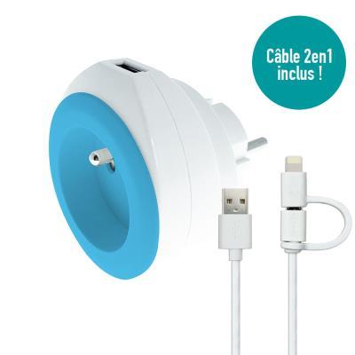 Chargeur universel mural USB pour smartphone et tablette Whatt&Co - avec câble 3 en 1 rétractable - bleu