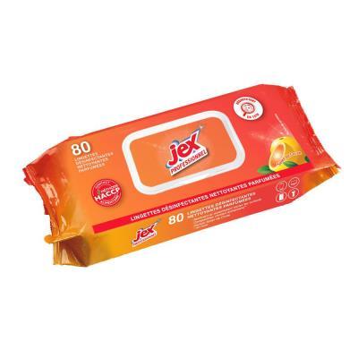 Paquet de 80 lingettes nettoyantes désinfectantes Jex Professionnel - senteur Soleil de Corse - dimensions lingette : L 19 x l 19 cm