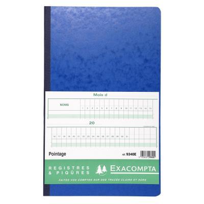 Registre de pointage Exacompta - piqûre 40 x 24 cm - 80 pages - coloris assortis