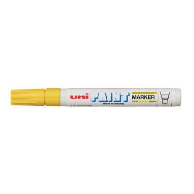 Marqueur peinture Unipaint à base d'huile indélébile - pointe moyenne ogive - corps métal - coloris jaune