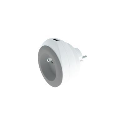 Chargeur universel mural USB pour smartphone et tablette Watt&Co - avec câble 3 en 1 rétractable - gris