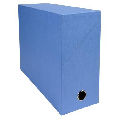 Boîte de transfert Exacompta - en carton rigide recouvert de papier toilé - dos 12 cm - bleu