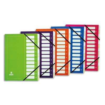 Trieur avec élastique Extendos Mon Dossier - en carte - 12 compartiments - coloris assortis (photo)