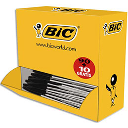 Pack 90 stylos bille Bic Cristal noir + 10 offerts - pointe moyenne (photo)