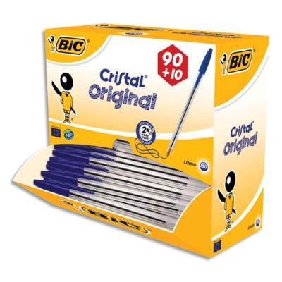 Pack 90 stylos bille Bic Cristal bleu + 10 offerts  - pointe moyenne. (photo)