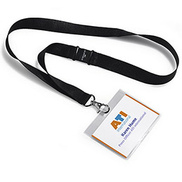 Kit porte-badge + lacet textile - format 6 x 9 cm - boîte de 5 - coloris noir (photo)