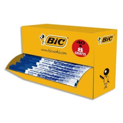 Pack 48 marqueurs effaçables à sec Bic Velleda 1721 - pointe fine - bleu