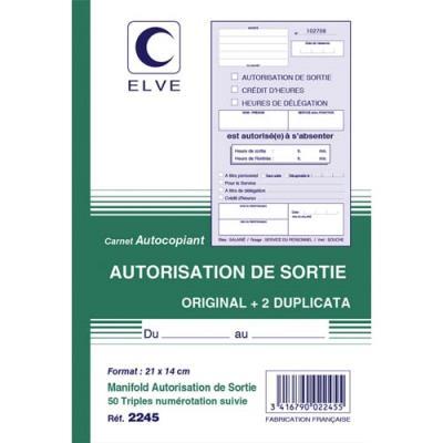 Manifold autocopiant Elve - autorisation de sortie - 21 x 14 cm - 50 feuillets tripli (photo)