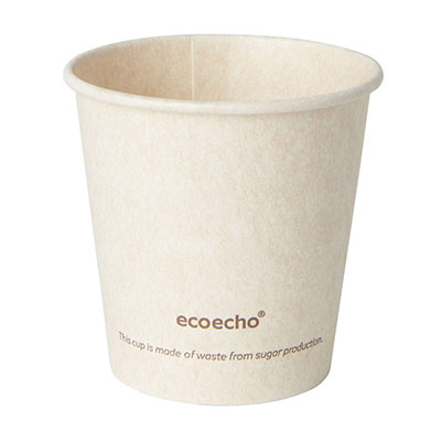 Gobelet jetable pour boisson chaude Sweet - en bagasse compostable - 12 cl - paquet 50 unités