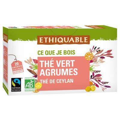Thé vert agrumes ceylan bio et équitable - 20 sachets fraîcheur recyclables en infusette