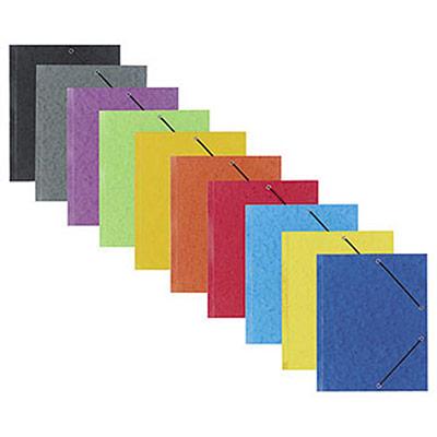 Chemise à élastiques 3 rabats Qualité Plus - carte lustrée 5/10 - format 24 x 32 cm - dos 2,5 cm - coloris assortis Toniques