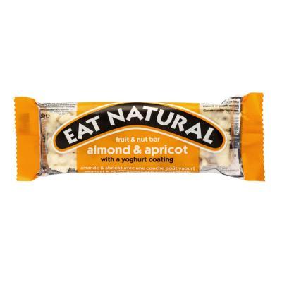 Barre enrobée aux fruits secs amandes et abricots avec un goût yaourt Eat Natural - sans gluten - boite de 12