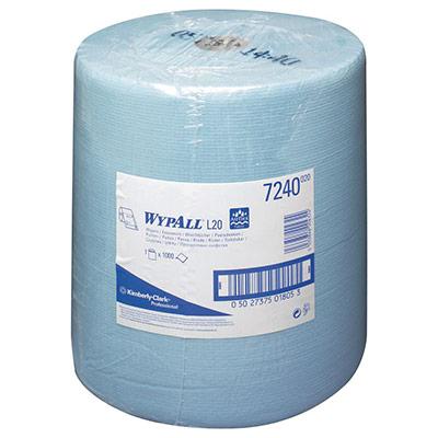 Rouleau d'essuie-tout à dévidage central - L20 - 1 pli - 1 000 feuilles - 325 mm - bleu - rouleau 1000 feuilles