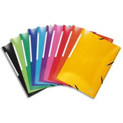 Chemise Exacompta 3 rabats à élastiques - en carte pelliculée 5/10e - 425g - coloris assortis