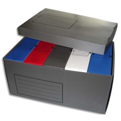 Lot de 5 boîte à archives en polypropylène - dos 10 cm - + 1 conteneur gris pour 5 boites archives (photo)