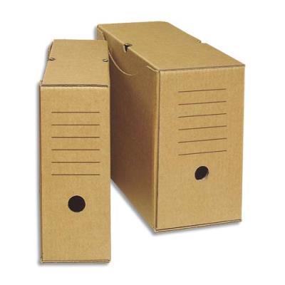 Boîtes à archives recyclé - dos 20 cm - carton ondulé recouvert papier brun (photo)