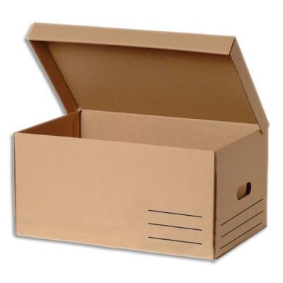 Conteneur à archives ouverture sur le dessus - carton recouvert kraft brun - 56 x 37 x 26 cm (photo)