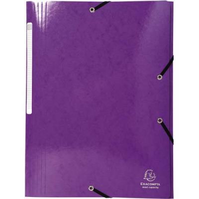 Chemise Exacompta 3 rabats à élastiques - en carte pelliculée 5/10e - 425g - violet