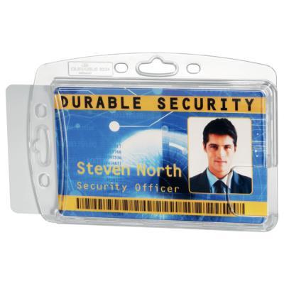 Badge de sécurité fermé pour 2 cartes - sans attache - format 5,4 x 8,4 cm - transparent - boite de 10 (photo)