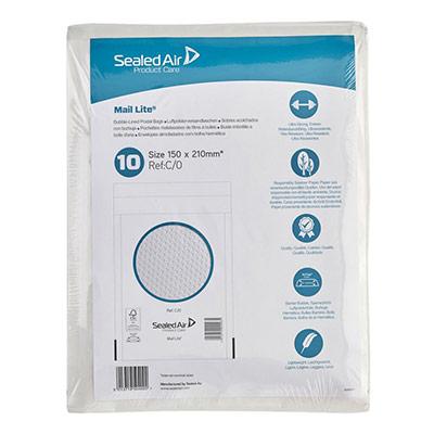 Enveloppes à bulles Mail Lite - C0 - AirCap - papier kraft - 210 x 150 mm - 72 g/m² bande autoadhésive - blanc - paquet 10 unités (photo)