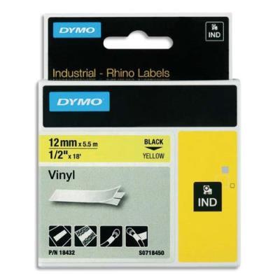 Ruban vinyle Rhinopro Dymo - Ruban jaune/blanc - 12mm x 5,5 m