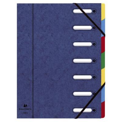 Trieur Exacompta Nature Future Harmonika Multipart A4 avec dos extensible à soufflets et fenêtres prédécoupées - 350 feuilles - 7 compartiments - 240 x 320 mm - carte lustrée - bleu