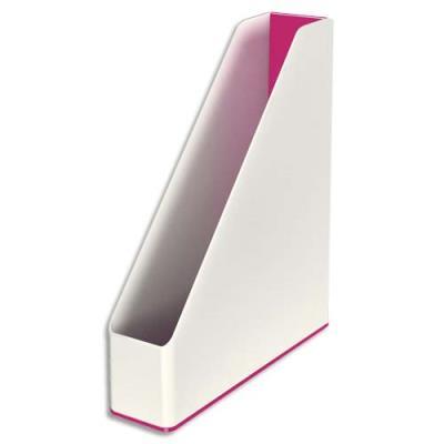Porte-revues Leitz Dual - dos 7,3 cm - H31,8 x P27,2 cm - blanc/rose métallisé