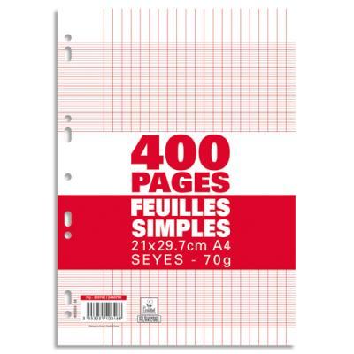 Feuillets mobiles Seyès - 21x29,7 cm - 400 pages - grands carreaux - blanc - 70g - sous film plastique
