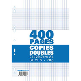 Copies doubles - 21x29,7 cm - 400 pages - grands carreaux seyès - blanc 70g - sous film plastique (photo)