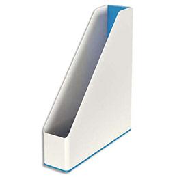 Porte-revues Leitz Dual - dos 7,3 cm - H31,8 x P27,2 cm - blanc/bleu métallisé