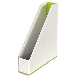 Porte-revues Leitz Dual - dos 7,3 cm - H31,8 x P27,2 cm - blanc/vert métallisé