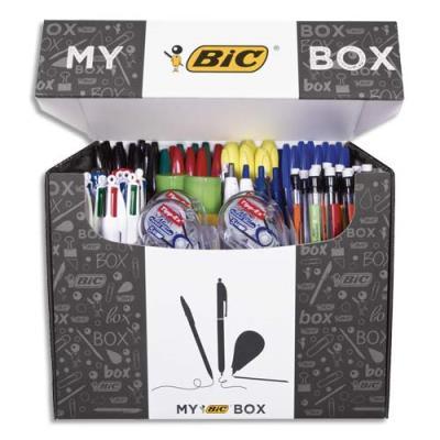 Box Bic contenant 124 instruments d'écriture : surligneurs, bille, correction, feutres EAS, marqueurs