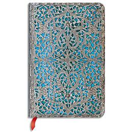 Carnet fermeture élastique Paperblanks - 9,5 x 14 cm - 176 pages - unies - filigrane argenté maya bleu (photo)