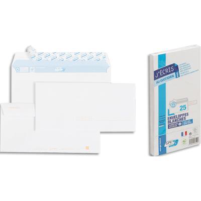Enveloppes précasées 110x220 GPV - blanches - auto-adhésives - 90 g - paquet de 25