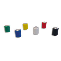 Aimants cylindriques Safetool - 6 x 10 mm - coloris assortis - lot de 12 (photo)